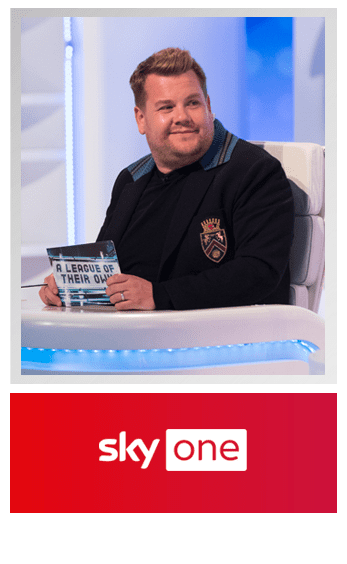 Still of James Cordon on the program A League of their own - SkyOne logo