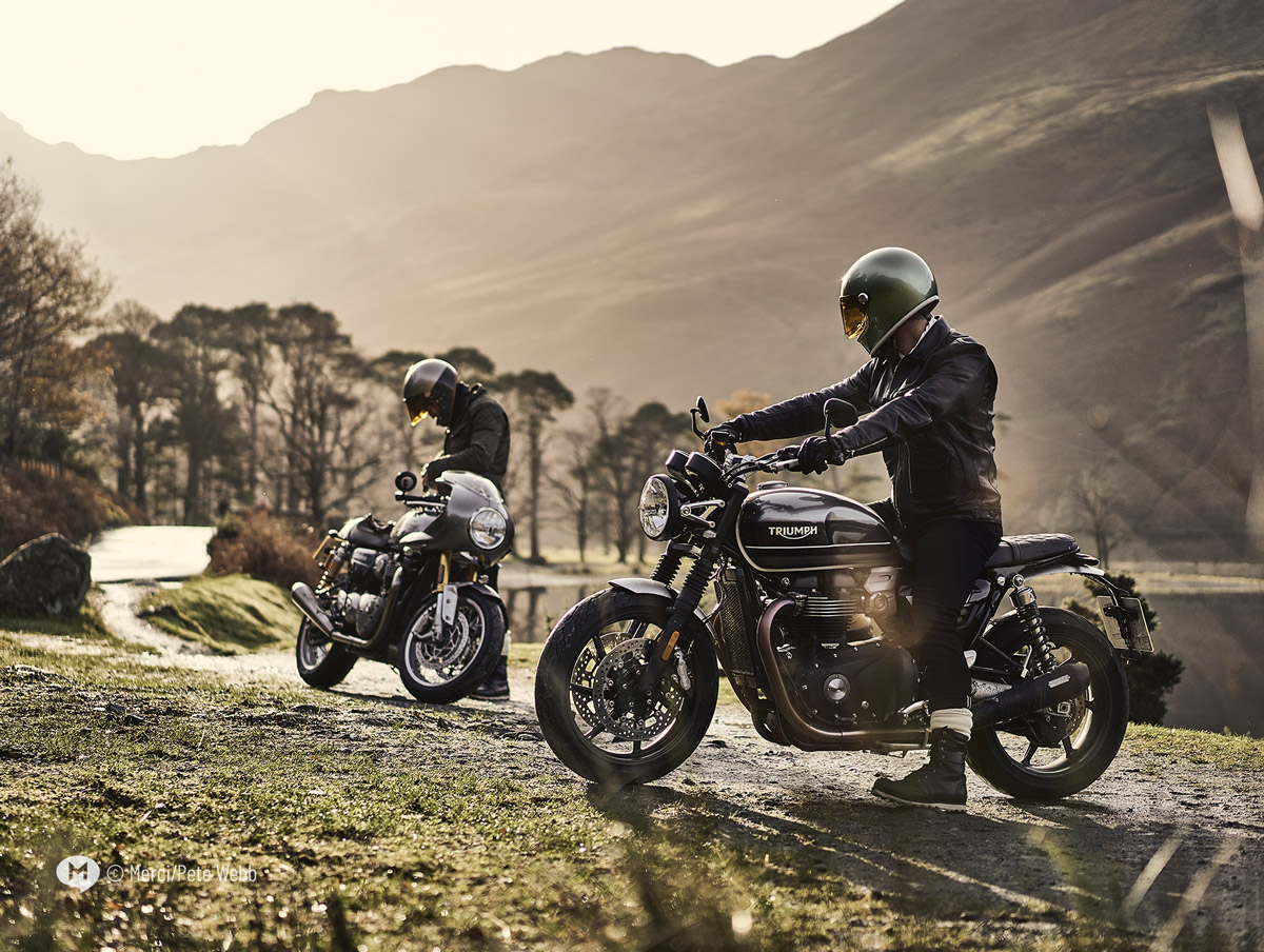 Two motorcyclists on Honister Pass in the English Lake District