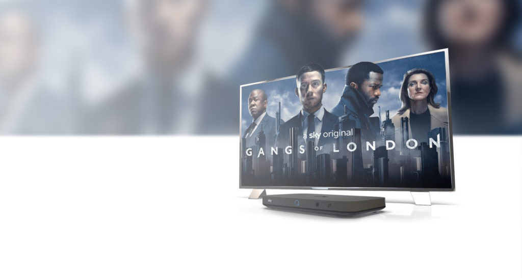 Still of Gangs of London inside a TV with Sky Q box